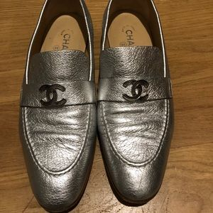 Chanel metallic silver loafers